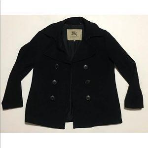 VTG BURBERRY Black Short trench coat WOMANS LARGE